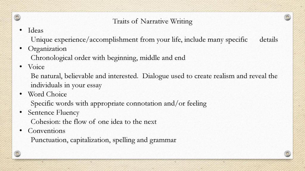 narrative writing words