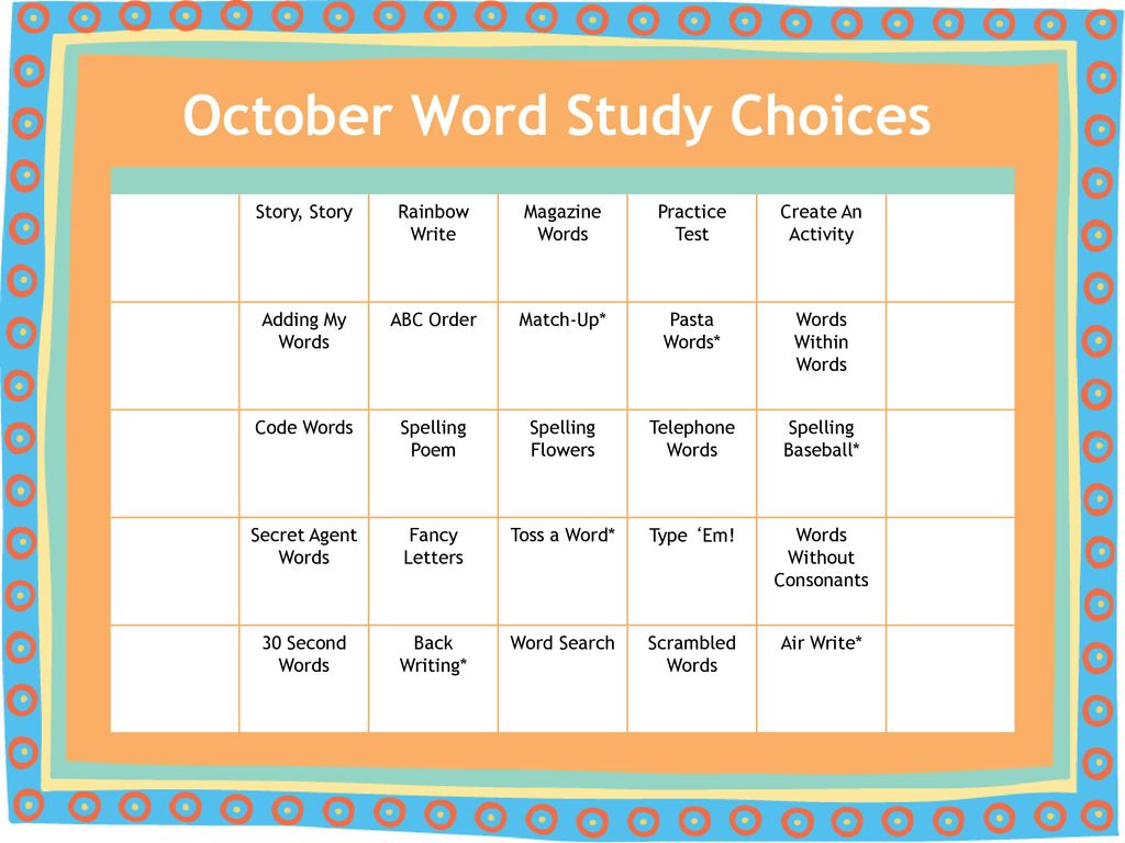 Spelling Homework Choices of the Month! - ppt download