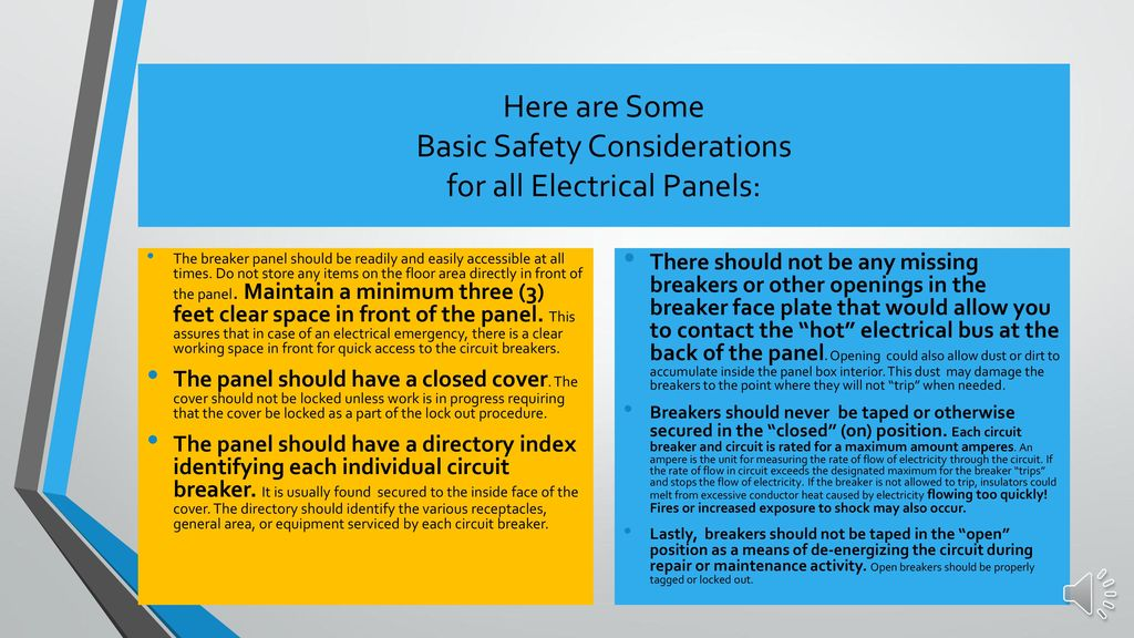 What's in Front of Your Electrical Panels - ppt download on garage space, solar panel space, roof space, electrical wiring, heater space,