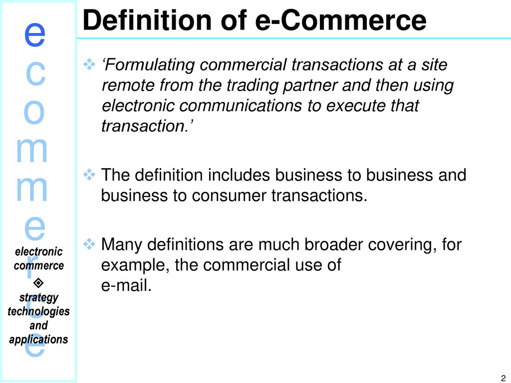 electric commerce an introduction to e-commerce outlining: - ppt