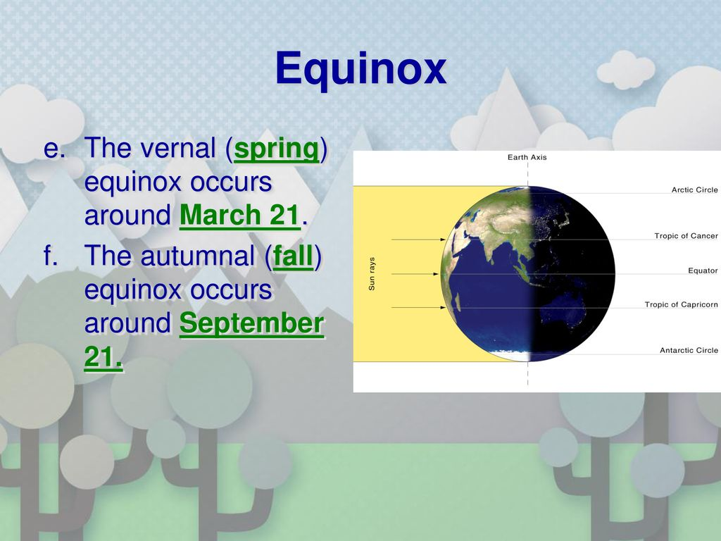 Equinox The vernal (spring) equinox occurs around March 21.