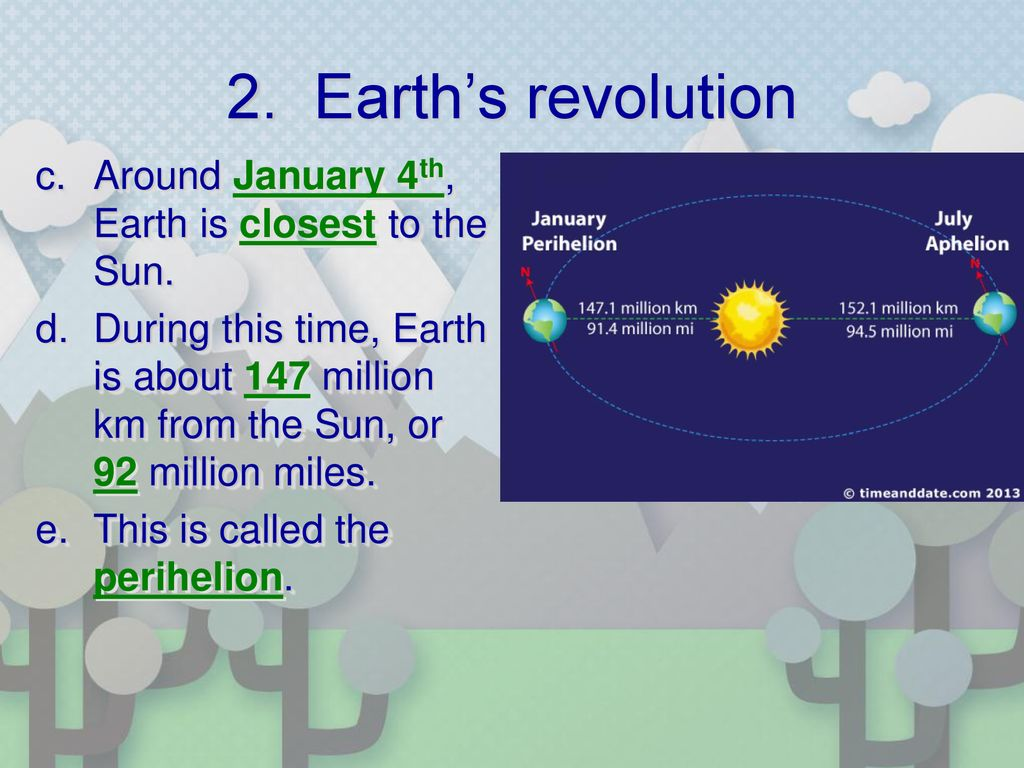 2. Earth's revolution Around January 4th, Earth is closest to the Sun.