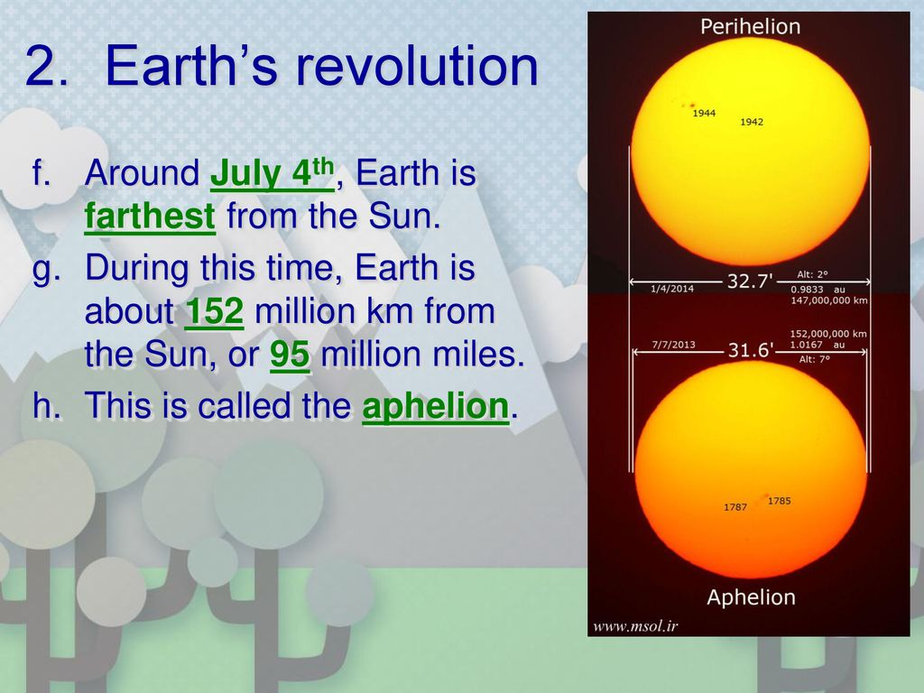 2. Earth's revolution Around July 4th, Earth is farthest from the Sun.