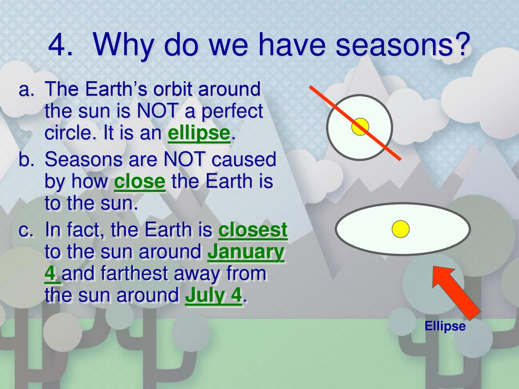 4. Why do we have seasons The Earth's orbit around the sun is NOT a perfect circle. It is an ellipse.