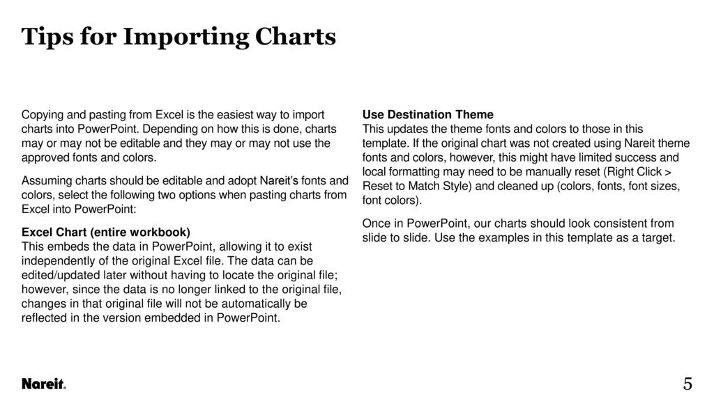 Nareit brand guidelines chart templates ppt download tips for importing charts ccuart Images