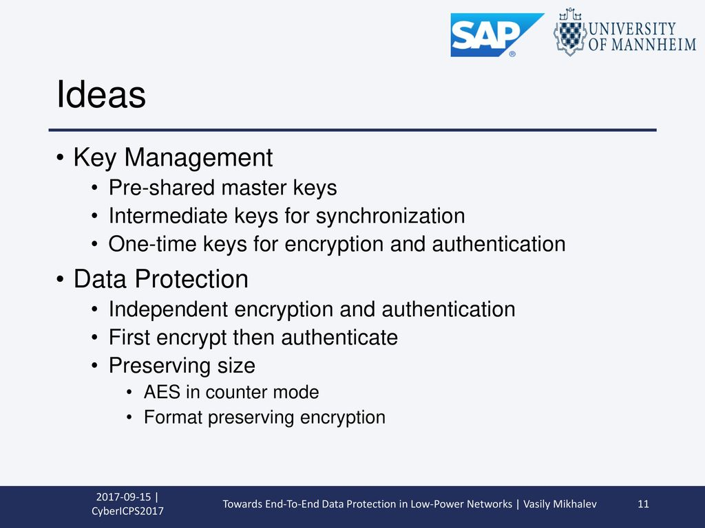 Ideas Key Management Data Protection Pre-shared master keys