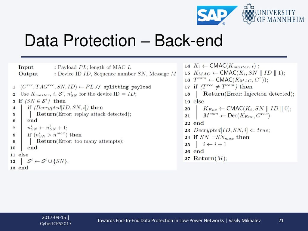 Data Protection – Back-end