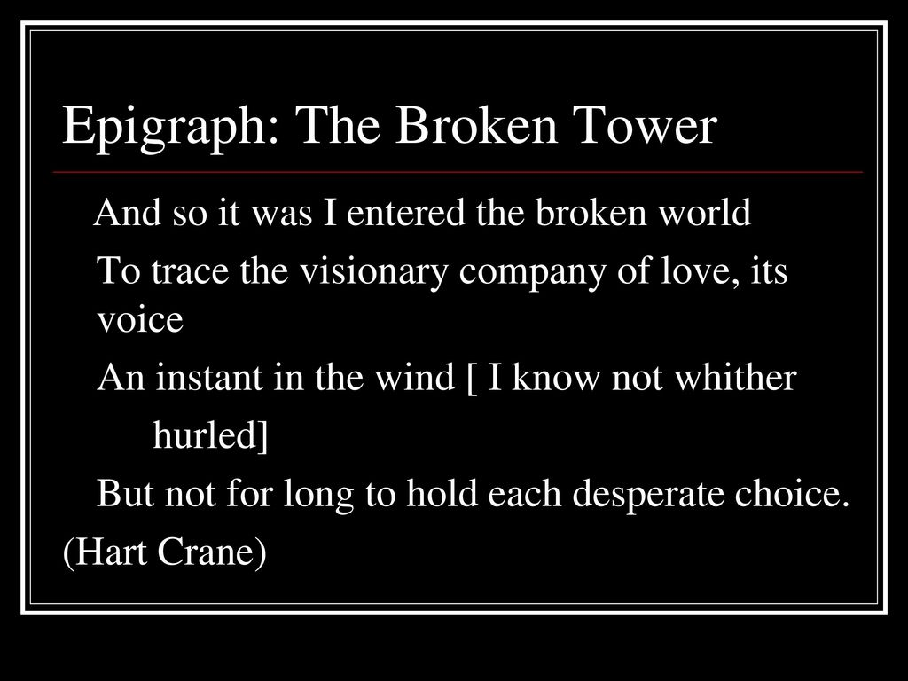 hart crane the broken tower