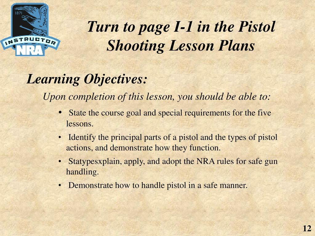 Introduction to NRA Basic Pistol Shooting Course Lesson