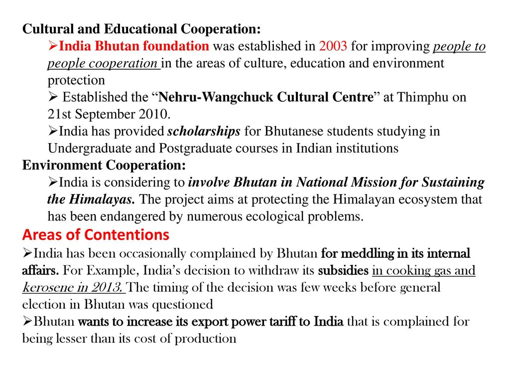Areas of Contentions Cultural and Educational Cooperation: