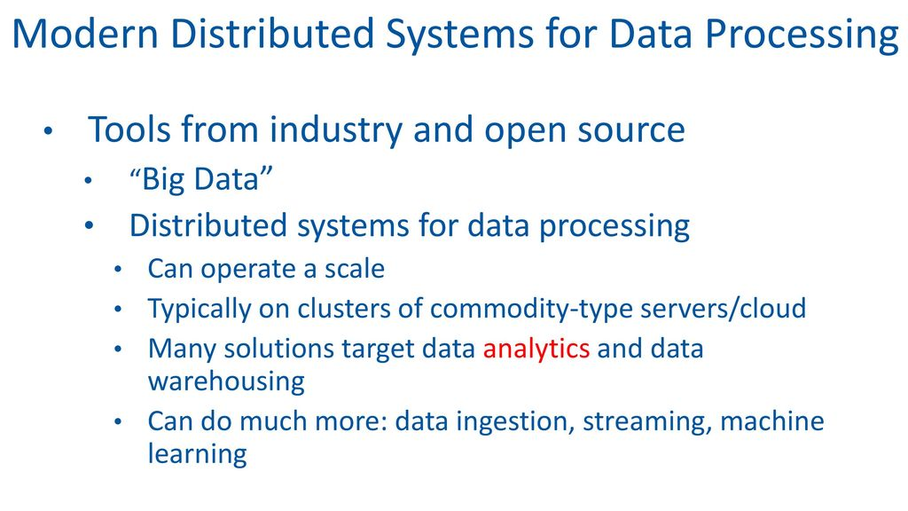 New Big Data Solutions and Opportunities for DB Workloads