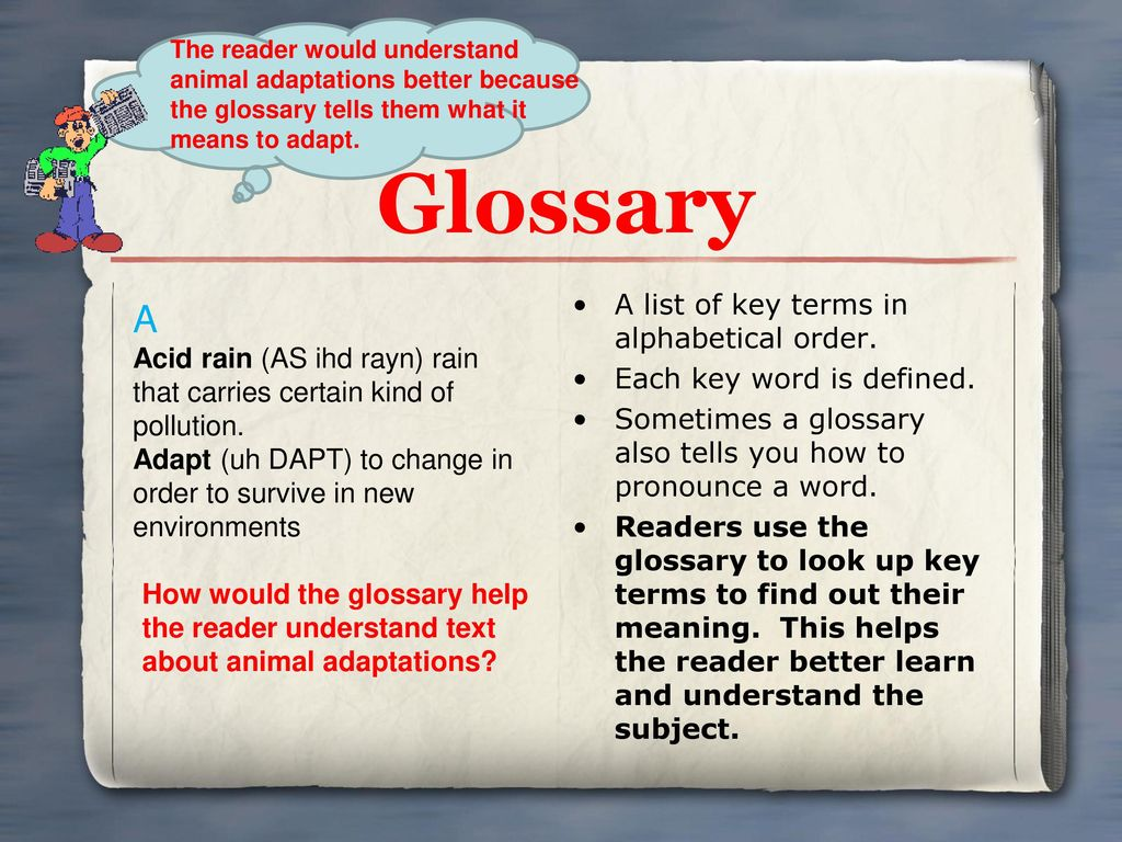 Glossary A A list of key terms in alphabetical order.
