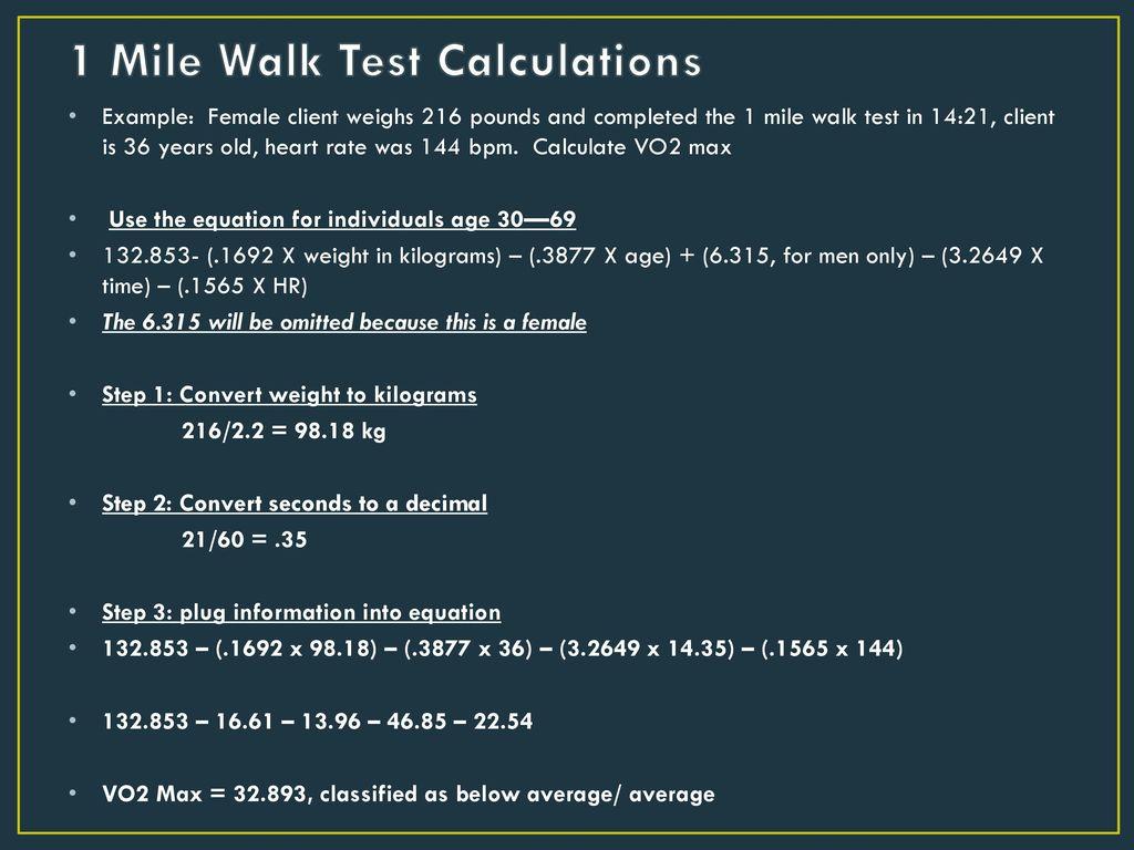 1 Mile Walk Test Calculations
