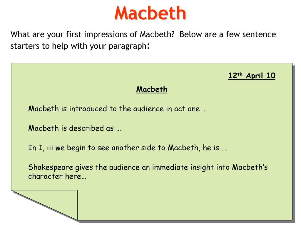first impressions of macbeth