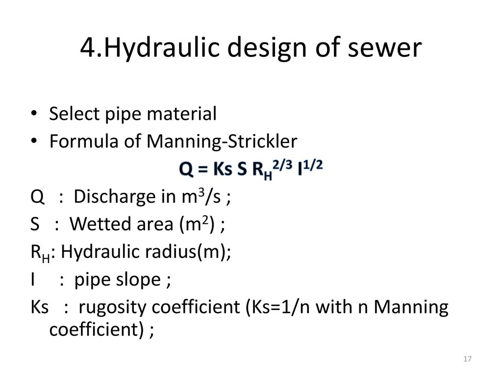 Design of sewer system Water Resources Engineering (Semester