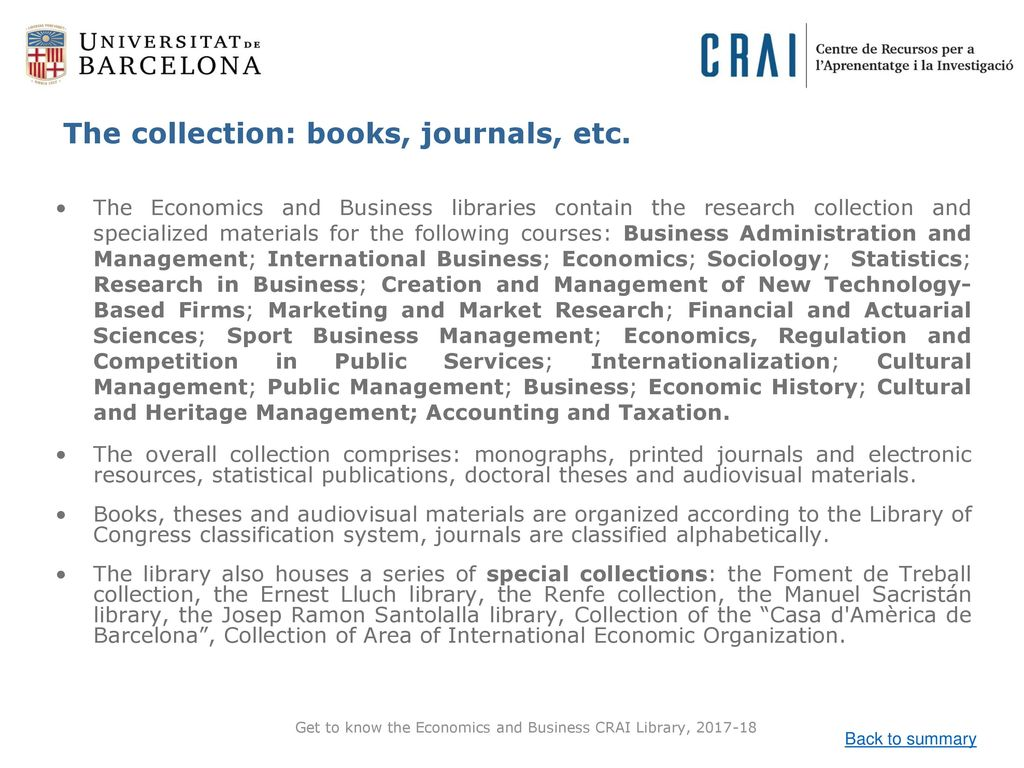 Get to know the Economics and Business CRAI Library,