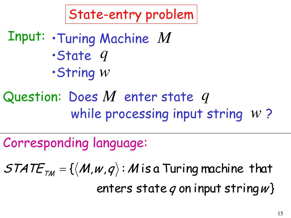 State-entry problem Input: Turing Machine. State. String. Question: Does. enter state. while processing input string