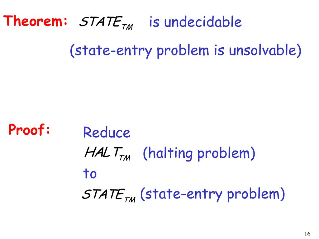 Theorem: is undecidable. (state-entry problem is unsolvable) Proof: Reduce. (halting problem) to.