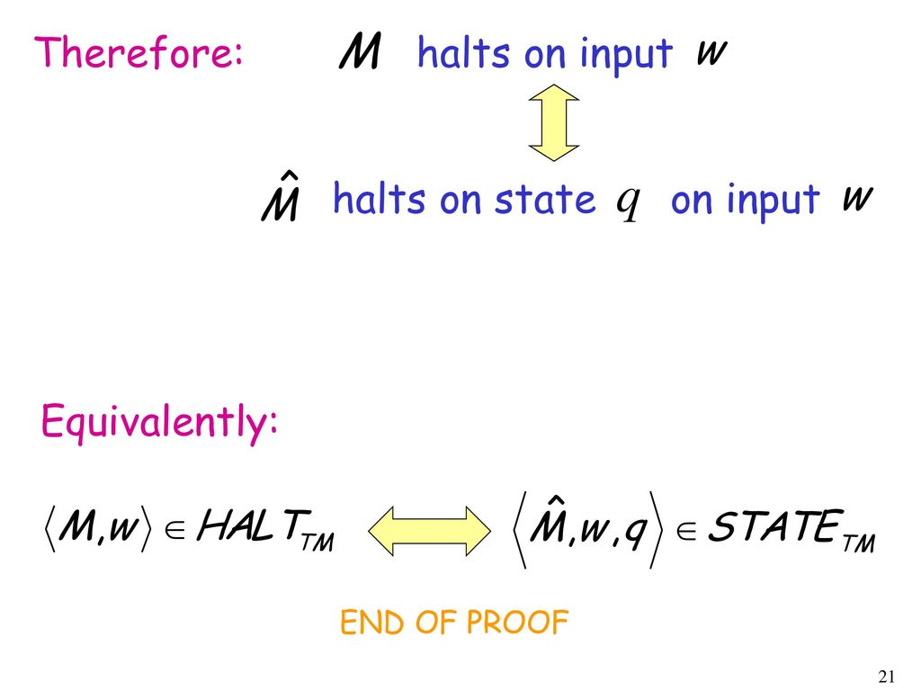 Therefore: halts on input halts on state on input Equivalently: