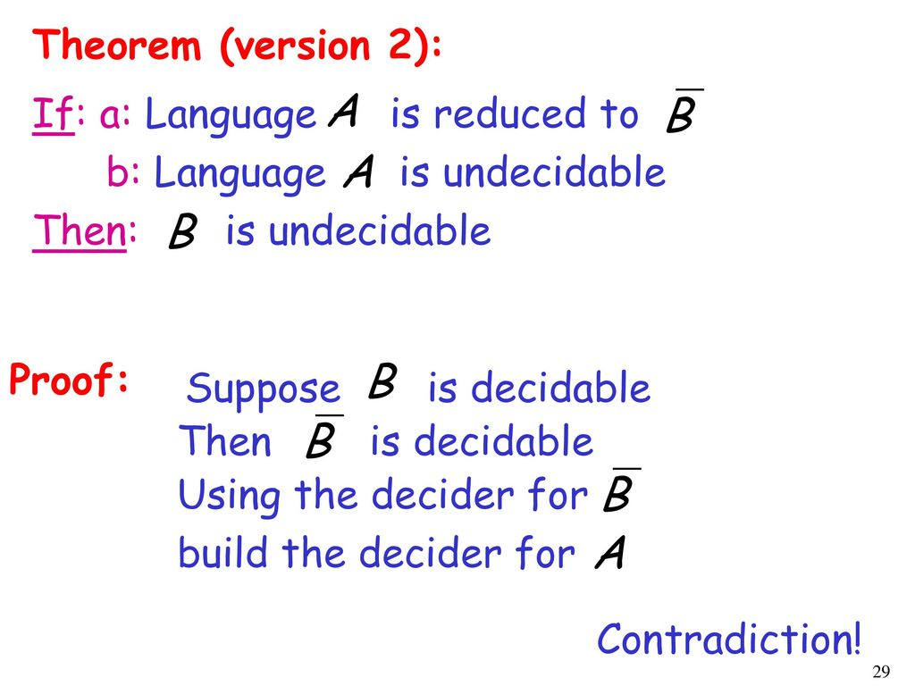 Theorem (version 2): If: a: Language is reduced to. b: Language is undecidable. Then: is undecidable.