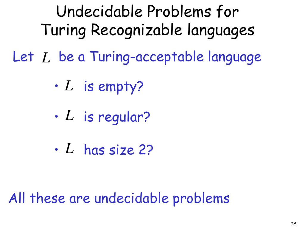 Undecidable Problems for Turing Recognizable languages