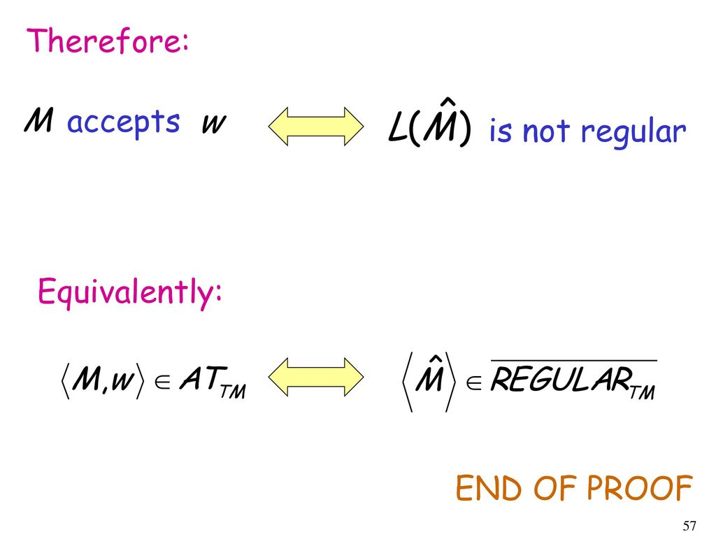 Therefore: accepts is not regular Equivalently: END OF PROOF