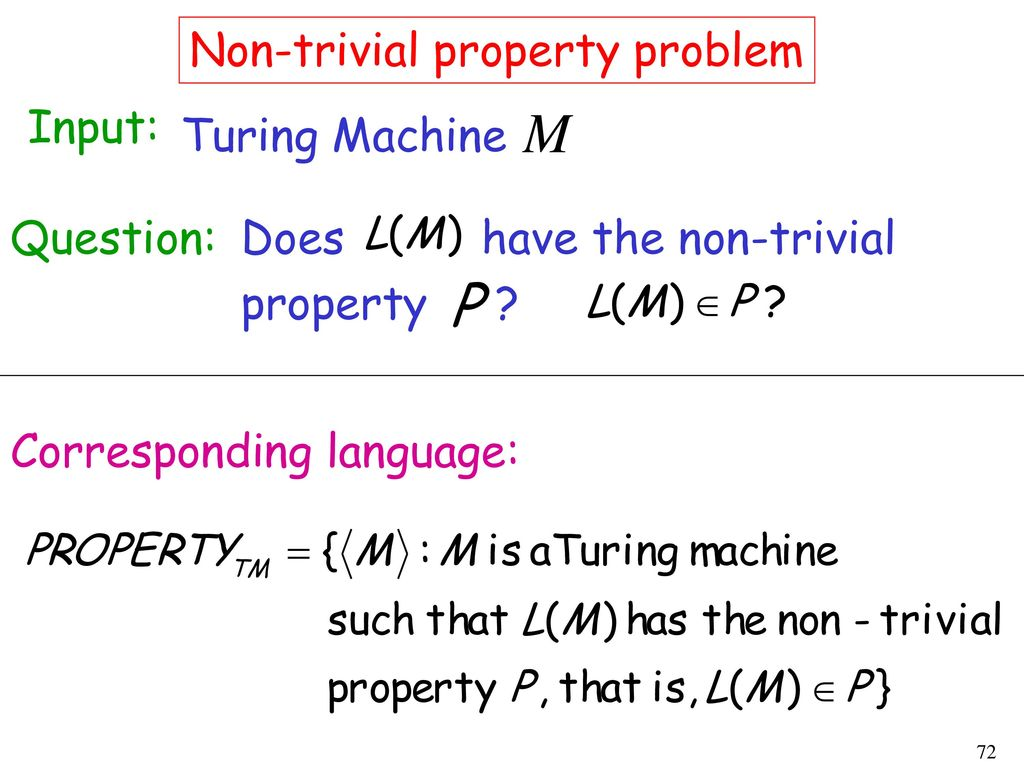 Non-trivial property problem