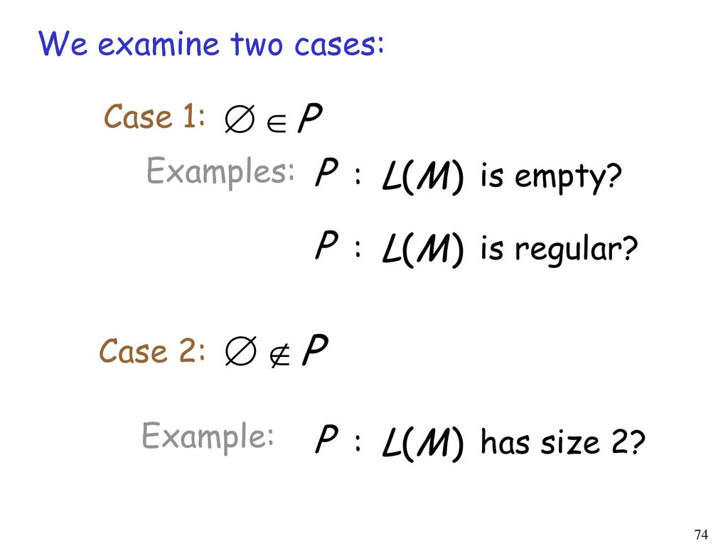 We examine two cases: Case 1: Examples: : is empty : is regular Case 2: