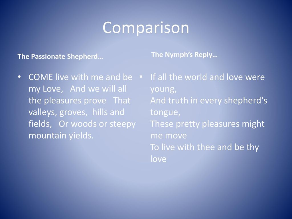 Pastoral Poetry The Passionate Shepherd To Nymph S Reply Ppt Download Paraphrase Poem Hi Love
