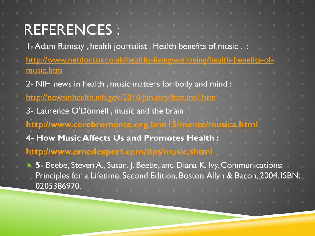 how music affects us and promotes health