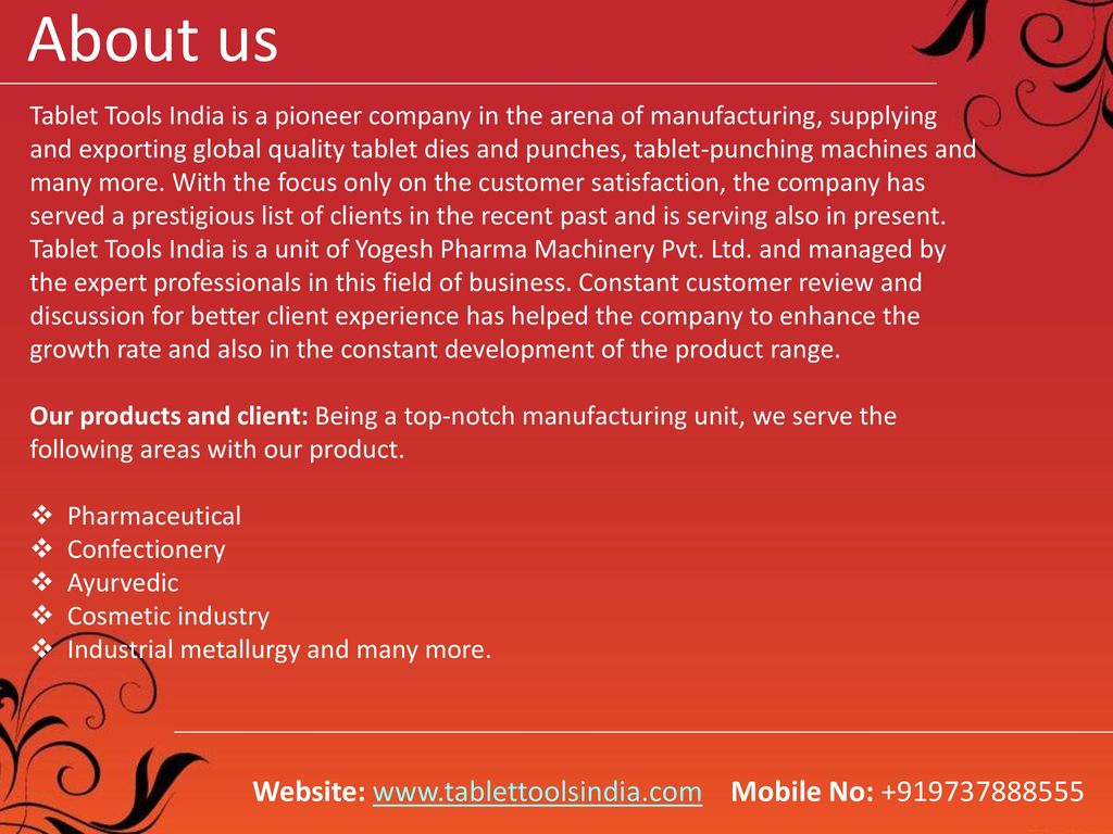Welcome to Tablet Tools India (A unit of Yogesh Pharma
