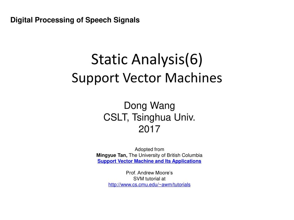 Static Analysis(6) Support Vector Machines - ppt download