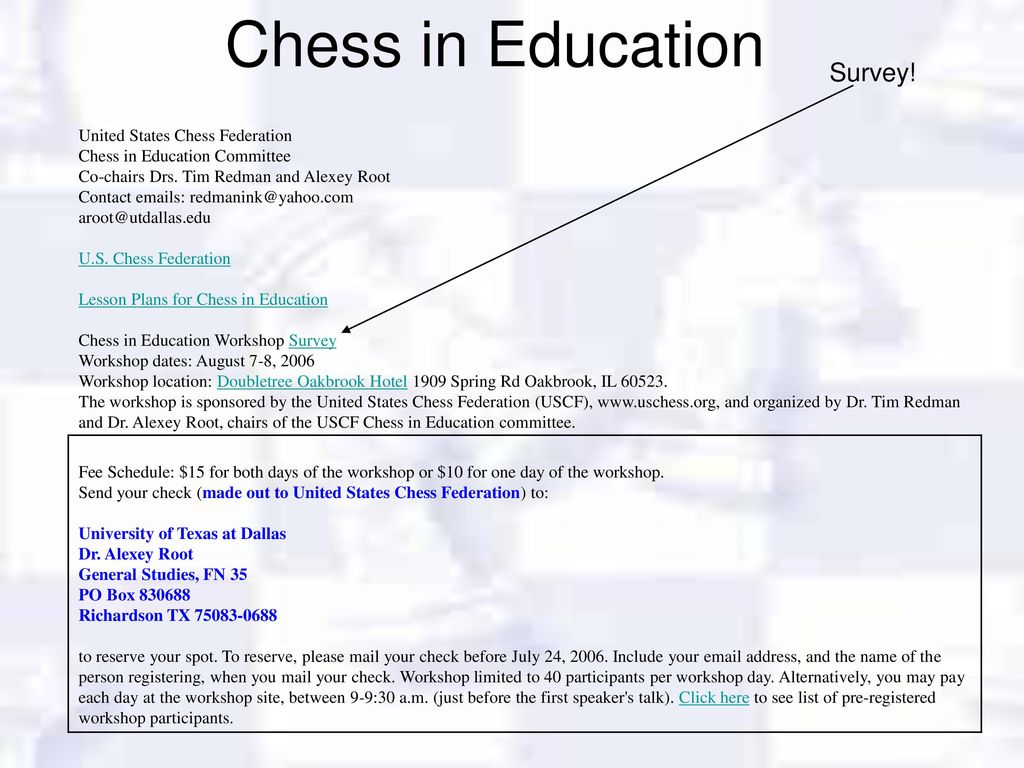 Welcome to the USCF Chess in Education Workshop - ppt download