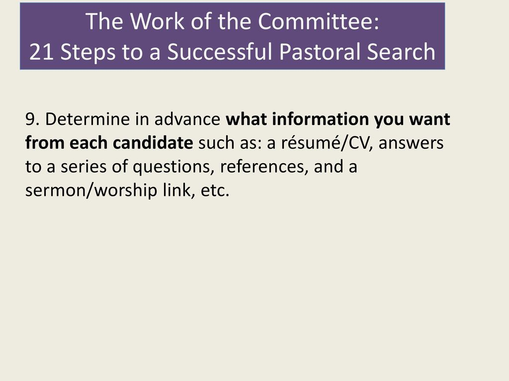 Steps in candidating sermons