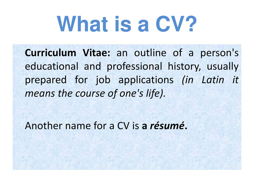 Writing A Cv Ppt Download