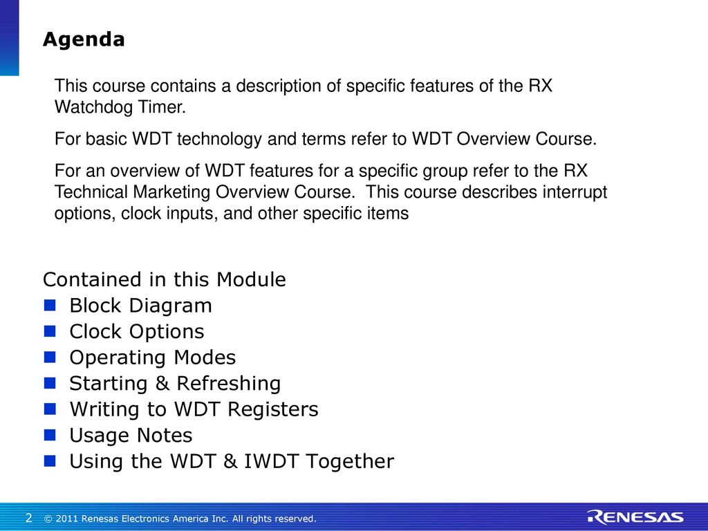 Rx Watchdog Timer Wdt Ppt Download Electronic Circuit Diagram Contained In This Module Block Clock Options Operating Modes