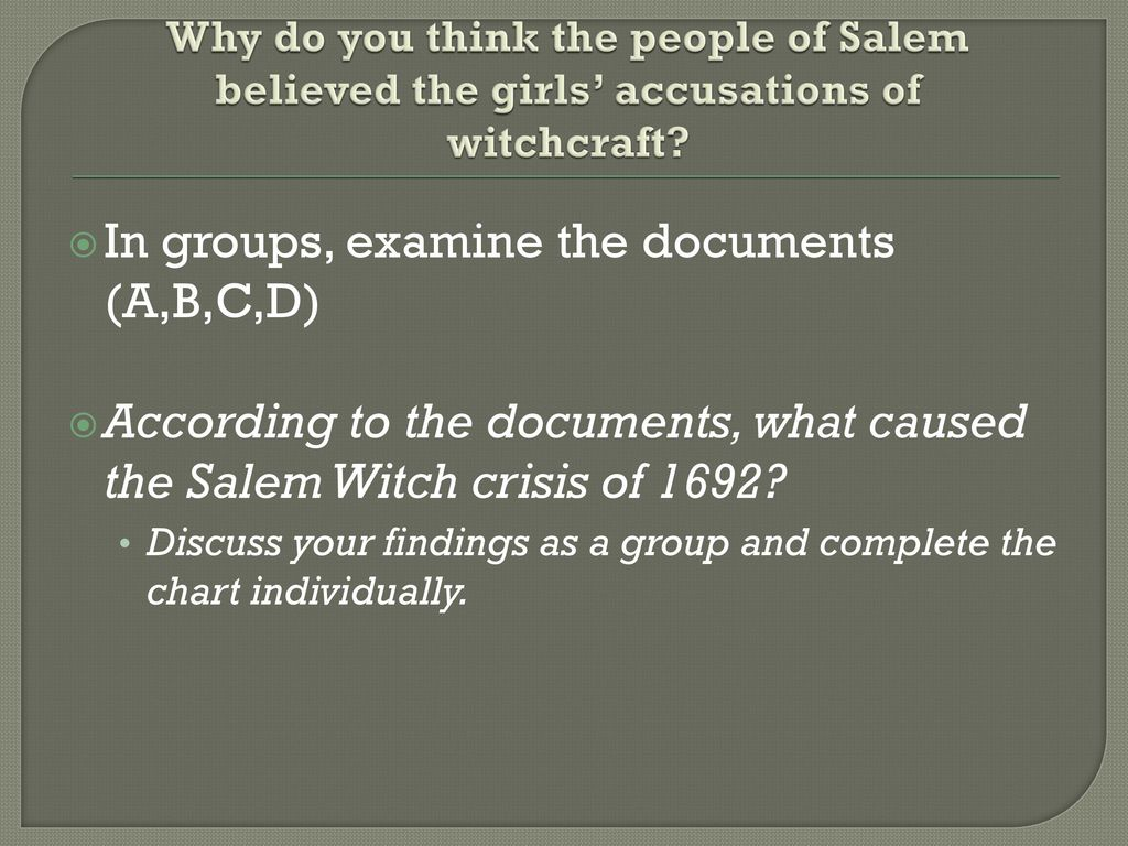 what caused the salem witch crisis of 1692