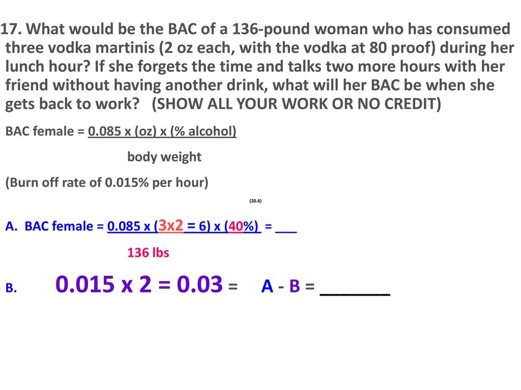 What would be the BAC of a 136-pound woman who has consumed