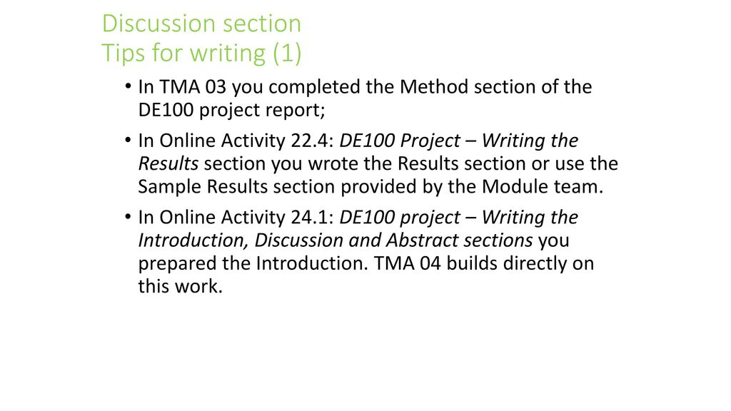 TMA04 - Writing the DE100 Project Report Discussion Section