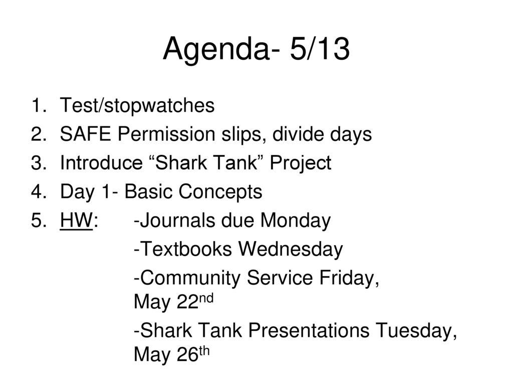 Agenda 513 Teststopwatches Safe Permission Slips Divide Days