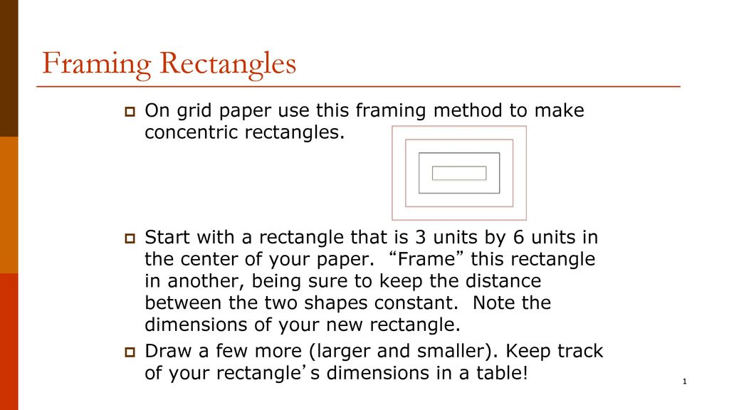 Framing Rectangles On grid paper use this framing method to make ...