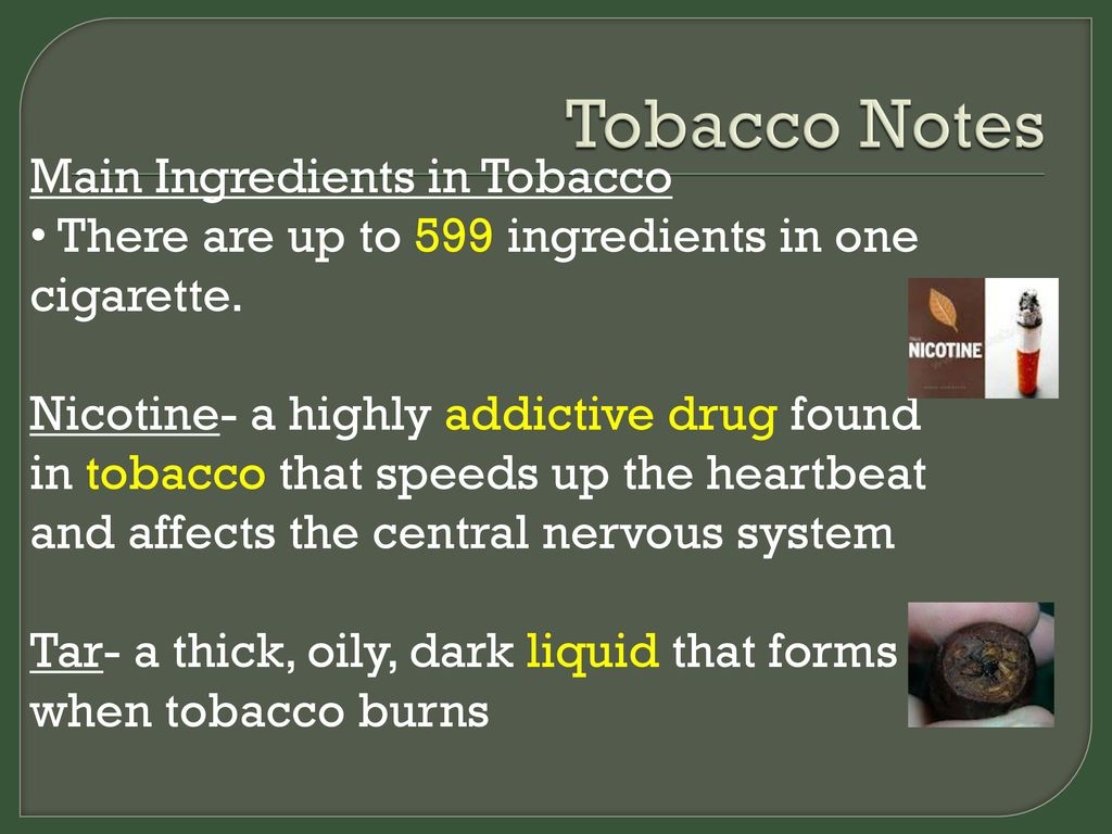 Tobacco Notes Main Ingredients In