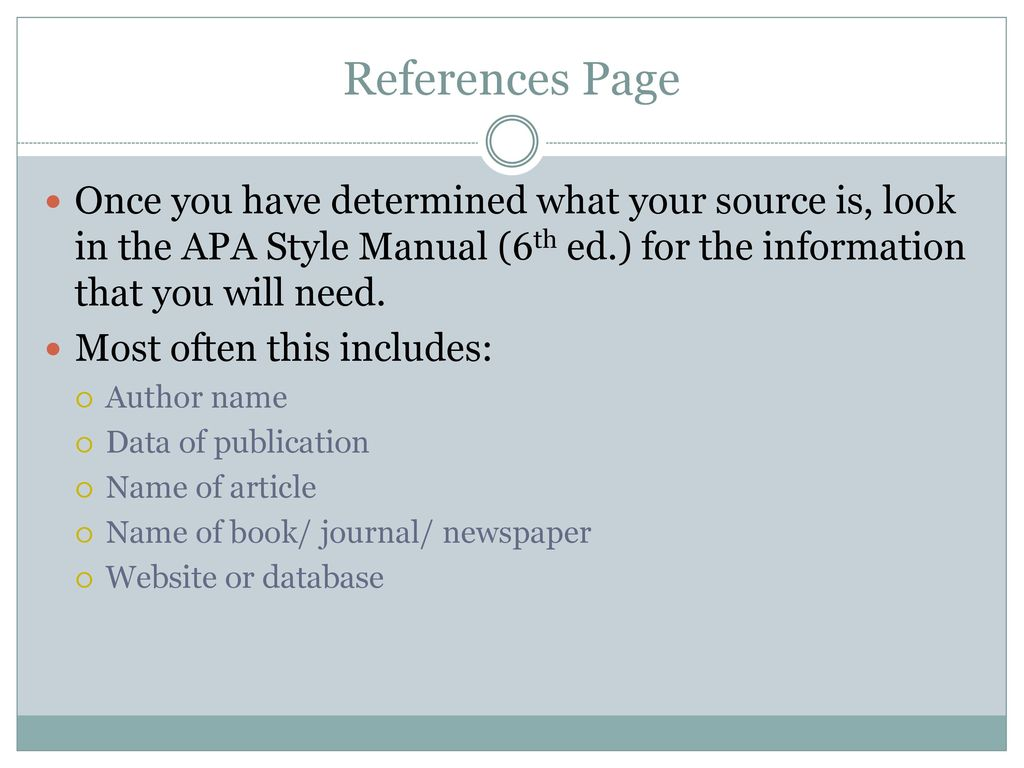 References Page Once you have determined what your source is, look in the APA  Style