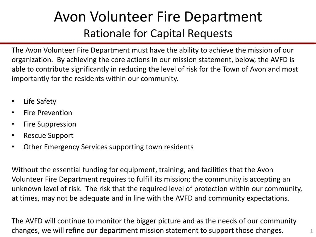 avon volunteer fire department rationale for capital requests