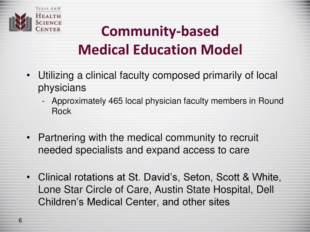 Texas A&M Health Science Center Education, Service, Research