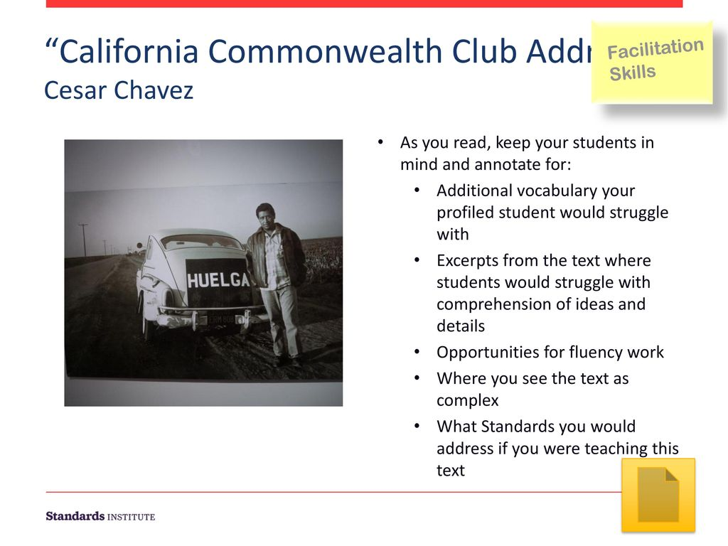 cesar chavez commonwealth club address summary