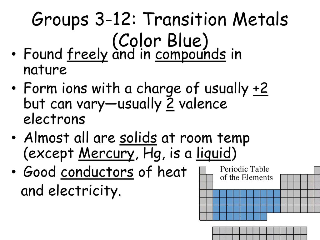 Chemistry notes the periodic table ppt download groups 3 12 transition metals color blue urtaz Images