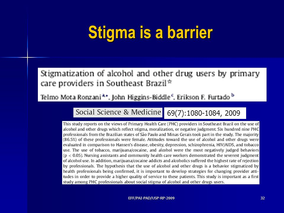 Stigma is a barrier 69(7): , 2009 EFF/PAI-PAD/USP-RP-2009