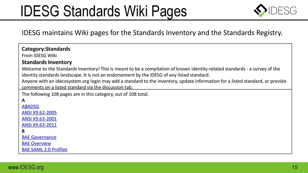 IDESG Standards Wiki Pages