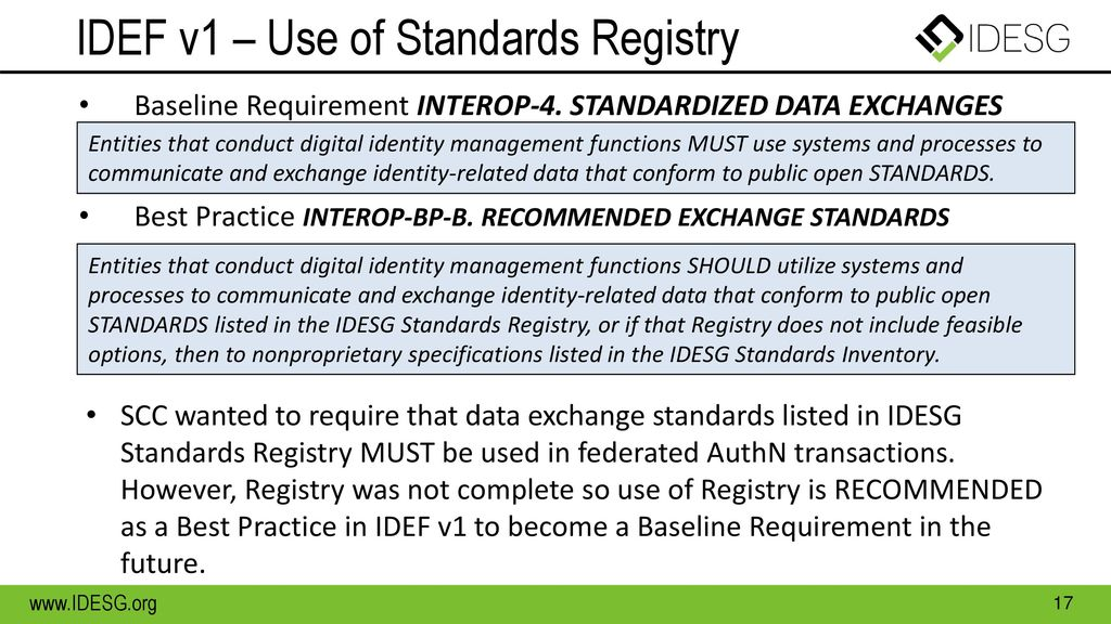 IDEF v1 – Use of Standards Registry